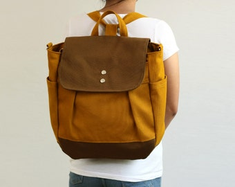 SALE - Convertible Backpack / Rucksack in Mustard and Brown Diaper bag / Travel Tote / Canvas bag / School / Unisex - iHana