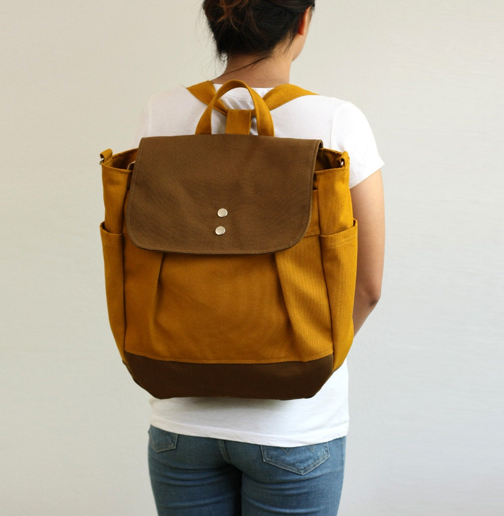 SALE Convertible Backpack / Rucksack in Brown / Diaper bag /