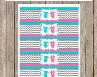 Chevron Gender Reveal Water Bottle Labels Printable INSTANT DOWNLOAD  GenderReveal3
