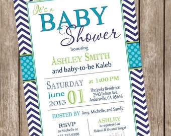 Teal and navy Baby Shower Invitation, chevron baby shower invitation, teal, navy, typography, printable invitation