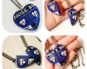 GUO GUO'S - The Original Dr Who Tardis Heart Necklace / BFF Tardis Heart Necklace Set / Friendship Necklace / Made to order