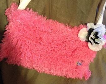 Hot pink fuzzy purse