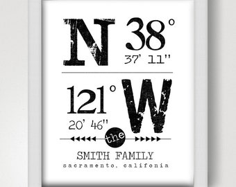 Latitude and Longitude DIGITAL Art Print - 8x10
