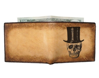 Custom Leather Wallet - Personalized Wallet - Groomsman Gift - Top Hat Skull