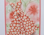 "Pretty Coral Dress with White Bow Card for a Friend, ""Hello, Girlfriend"""