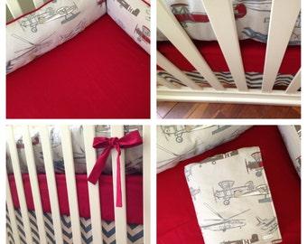 Vintage Airplanes and Denim Chevron Crib Bedding