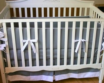 Made to Order 3pc crib bedding set in gray and white