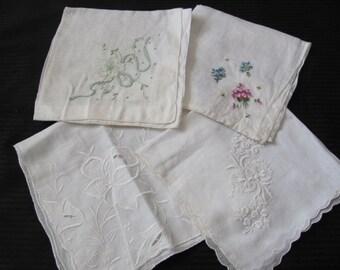 Hankies - Lot of 4 Beautiful Assorted White Vintage Handkerchief