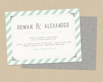 Mint and Silver Glitter Wedding Invitation - Diagonal Stripes - Casual Glamour