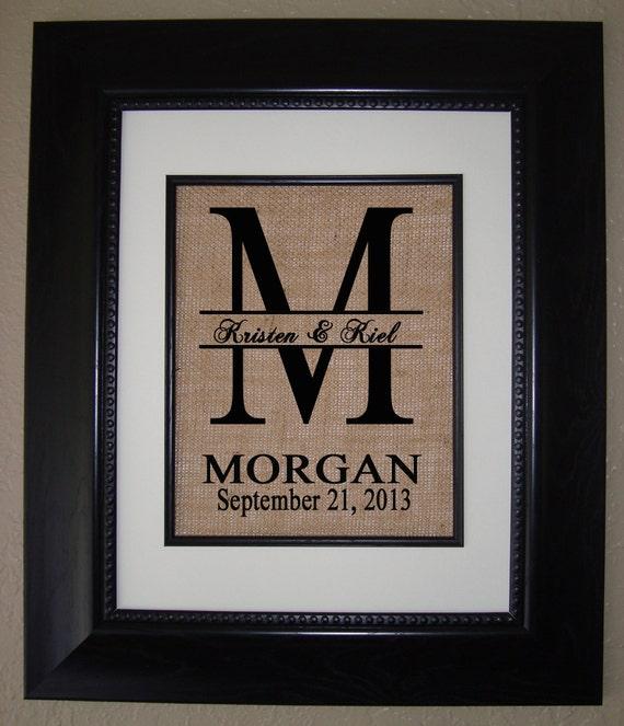 personalized monogram burlap print wedding gift housewarming gift