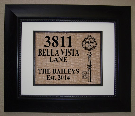 Personalized house warming gift burlap print makes a unique for Unique new home gifts