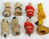 Vintage Celluloid Christmas Santa Pug Dog Light Figurines Figural 8 Piece Set with 5 Light Bulbs