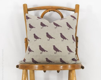 16x16 Decorative Pillow Cover with Graphic Bird | Plum and Natural Beige | Spring Home Decor | Modern Cushion For Couch, Bed or Chair