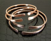 Distressed Copper Bracelet, Stacking Bangle, Bare Copper or Antiqued Patina Finish in Mens or Womens