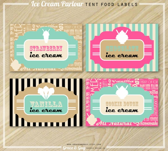 Ice Cream Party Food Labels
