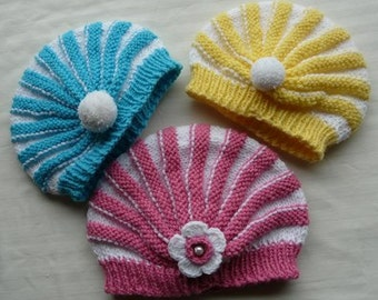 children hat knit pattern. 2 patterns.rainbow and pigtail