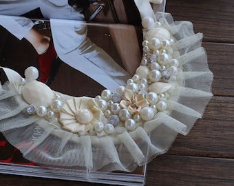 Chiffon Collar Handmade Sequined Pearl Beaded Supply For DIY Dress Shirt Collar 1 pcs