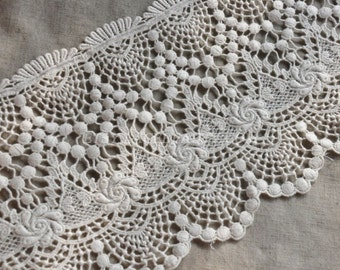 Off White Wide Cotton Lace Trim Hollowed Out Floral Embroidered Lace 7 Inches Wide 1 Yard