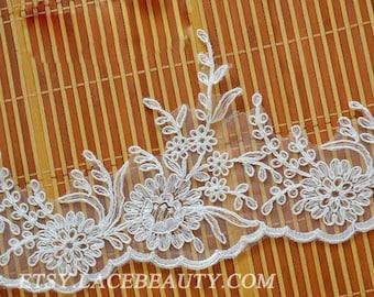 Off White Alencon Lace Trim Luxury Floral Scalloped Wedding Lace Trim Retro Lace Bridal Lace 5.11 Inches Wide 1 Yard