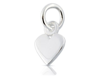 Sterling Silver 12x6mm Heart Charm With Soldered Jump ring - 1pc  10% discounted (5597)/1