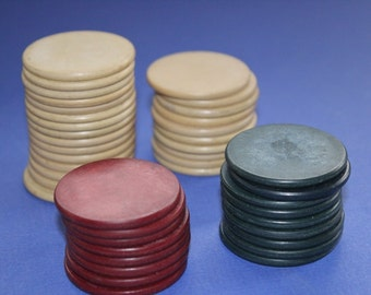 Vintage Poker Chips, Red, White, Blue, Games, Cards, Poker Chips,