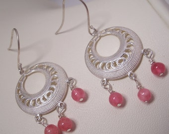 Silver Plated Filigree and Pink Jade Earrings