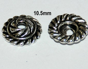 20 pcs 10.5mm Silver Plated Bead Caps Dome Shape