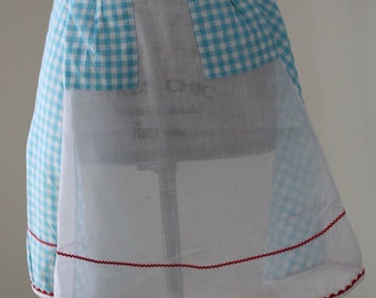 Blue and White Gingham Apron