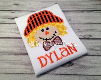 Fun Boys Scarecrow Appliqued and Personalized Shirt - Orange and Brown