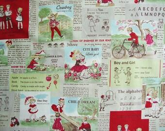 Japanese Fabric Cotton Yuwa - Childhood Red - a yard