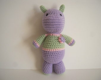 Crocheted Stuffed Amigurumi Hippo  - Lilac/Green/Pink with Flower