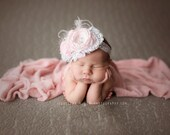 Vintage Inspired Pink Baby Flower Headband, Infant Headband, Newborn Headband, Headband, Rosette Headband, Pink