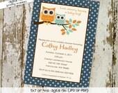 owl baby shower invitation owl first birthday baby boy invite Gender reveal invitation baby sprinkle bash (item 1247) shabby chic invitation