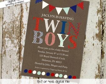 baby shower invitation twins twin boys patriotic polka dots bunting banner baby sprinkle birthday double (item 152) shabby chic invitation