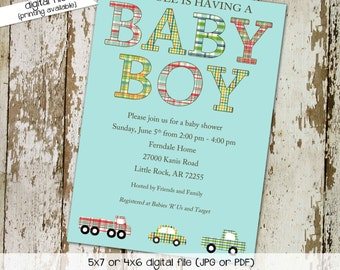baby boy shower invite, plaid with cars, digital, printable file (item 1221) baby shower invite