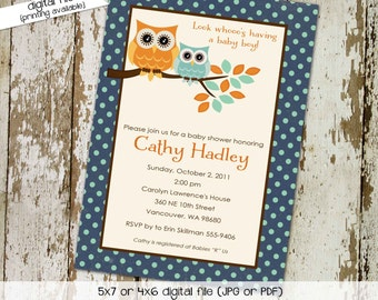 owl baby shower invitation owl first birthday baby boy invite Gender reveal invitation baby sprinkle bash (item 1247) shabby chic invitation