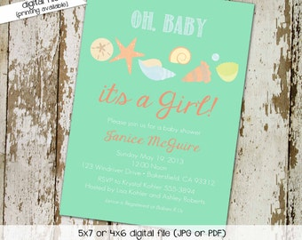 baby girl shower invitation gender reveal seashell beach mint coral neutral sprinkle sip and see couples (item 1320) shabby chic invitations