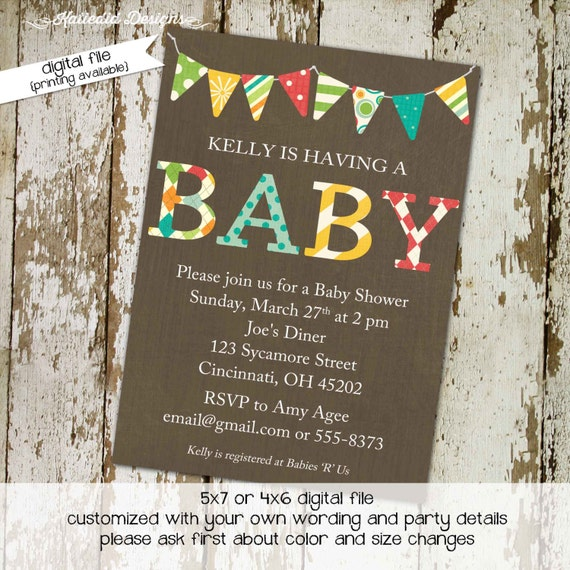 gender neutral baby shower invitations coed gender reveal bunting banner sprinkle diaper couples library (item 1215) shabby chic invitations