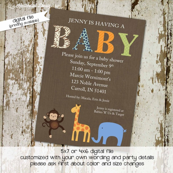 safari baby shower invitation boy monkey elephant giraffe gender neutral gender reveal diaper zoo (item 1212) shabby chic invitation