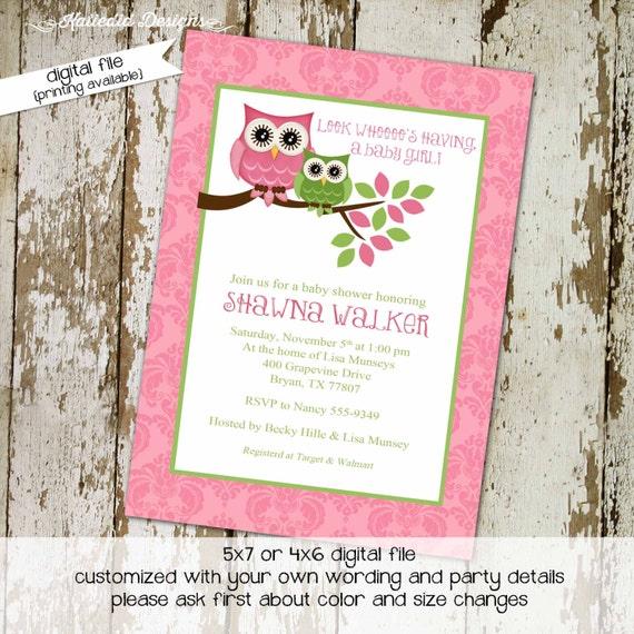 owl baby shower invitation owl first birthday baby girl shower damask diaper shower book baby invite bash (item 1317) shabby chic invitation