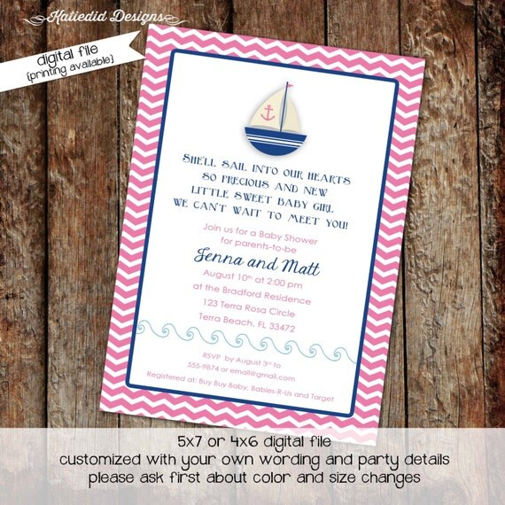 nautical baby shower invitation sailboat baby girl shower gender neutral gender reveal sprinkle coed bash (item 1328) shabby chic invitation