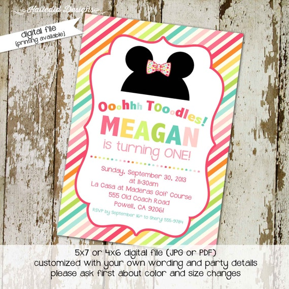 Minnie Mouse birthday invitation Disney bow-tique stripe mickey ears toodles baby girl shower sprinkle diaper bring a book party (item 264)