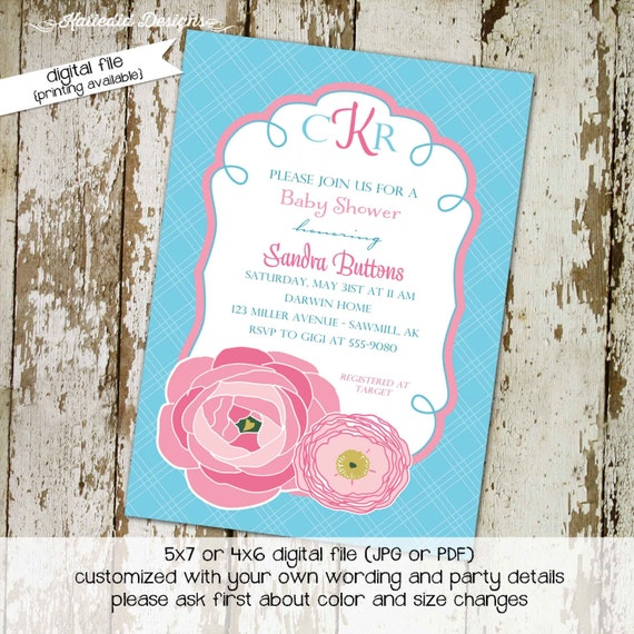 baby girl shower invitations, shabby chic, digital, aqua and pink flowers, printable file (item 1356) baby shower invite