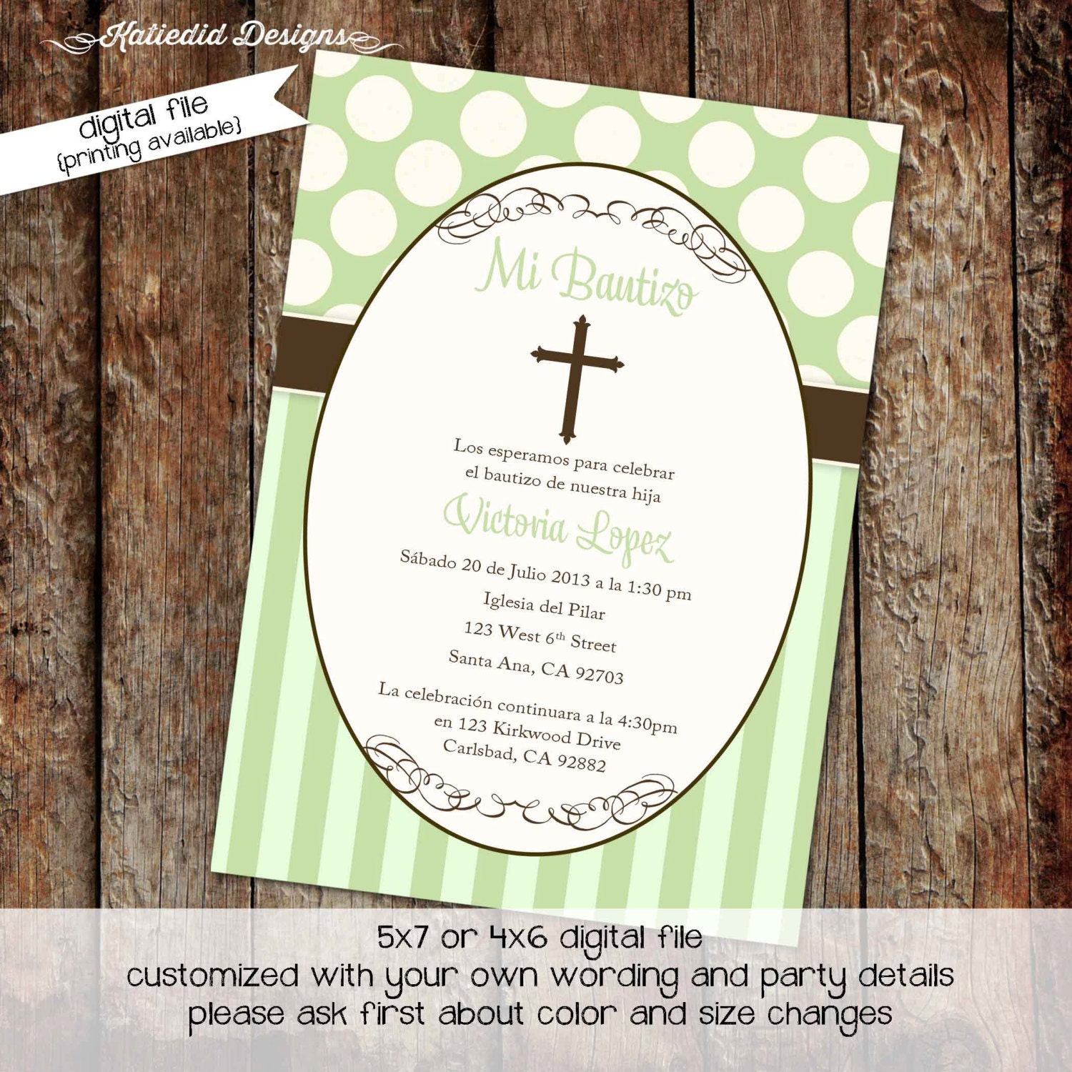 First communion invitation spanish christening baptism first communion invitation spanish christening baptism announcement baby boy pastel green polka dots stripes crucifix 707 katiedid designs stopboris Gallery