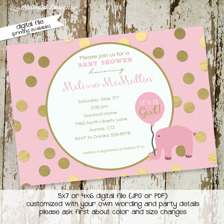 elephant baby shower invitation girl baptism pink gold foil polka