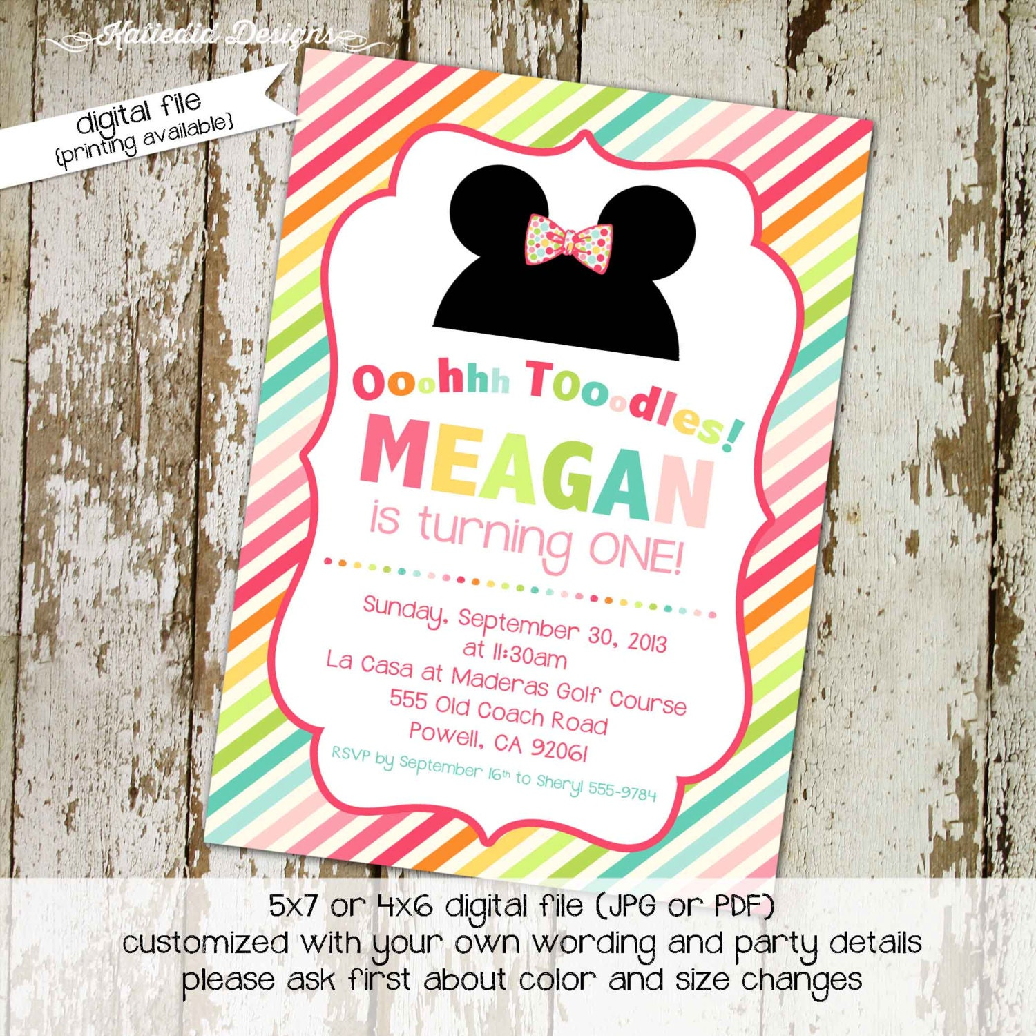 Little girl 1st birthday invitation Minnie Mouse mickey mouse ...