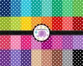 Polka Dot Digital Paper Pack 1, Polka Dot Digital Scrapbook Paper, dotty digital background, Instant Download, Commercial Use