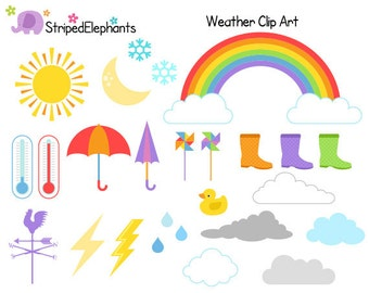 Weather Clipart - Rainbow Clip Art Sun Clipart - Instant Download - Commercial Use