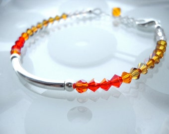 Orange Swarovski crystal ombre bar bracelet: Kai - Gift under 15, gift for her, orange jewelry, orange bracelet, ombre bracelet