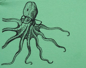 Boys octopus wearing glasses t shirt- American Apparel grass green- available in 2, 4, 6, 8, 10, 12 year sizes- Worldwide Shipping